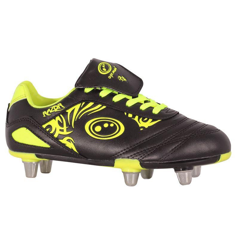 Optimum Razor Junior Rugby Boot Black/Fluro Yellow 2019