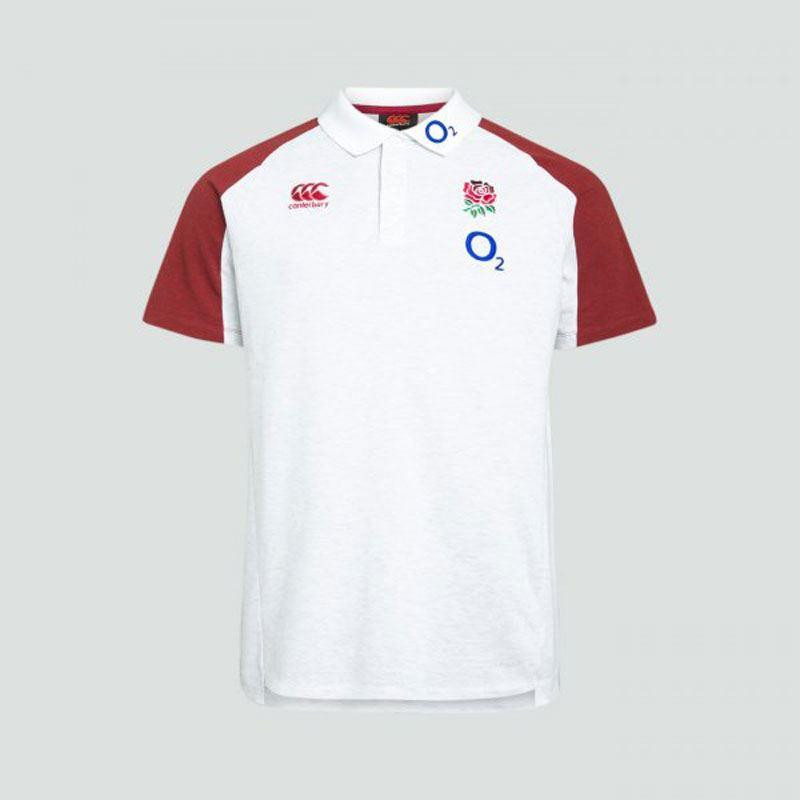 Canterbury England Vapodri Cotton Pique Polo Shirt Bright White/Marl 2019