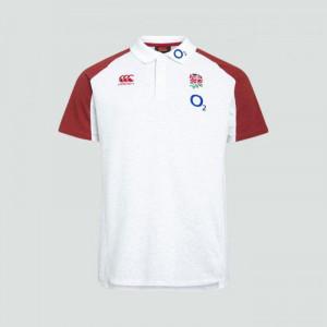 Canterbury England Vapodri Cotton Pique Polo Shirt Bright White/Marl 2019